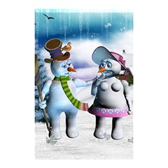 Funny, Cute Snowman And Snow Women In A Winter Landscape Shower Curtain 48  X 72  (small)  by FantasyWorld7