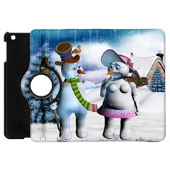 Funny, Cute Snowman And Snow Women In A Winter Landscape Apple Ipad Mini Flip 360 Case by FantasyWorld7