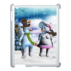 Funny, Cute Snowman And Snow Women In A Winter Landscape Apple Ipad 3/4 Case (white) by FantasyWorld7