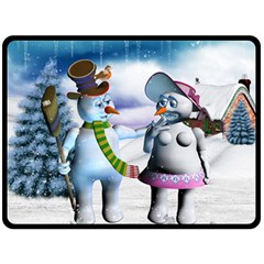 Funny, Cute Snowman And Snow Women In A Winter Landscape Double Sided Fleece Blanket (large)  by FantasyWorld7