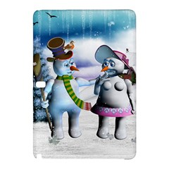 Funny, Cute Snowman And Snow Women In A Winter Landscape Samsung Galaxy Tab Pro 12 2 Hardshell Case by FantasyWorld7