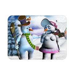 Funny, Cute Snowman And Snow Women In A Winter Landscape Double Sided Flano Blanket (mini)  by FantasyWorld7