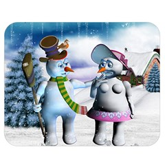 Funny, Cute Snowman And Snow Women In A Winter Landscape Double Sided Flano Blanket (medium)  by FantasyWorld7