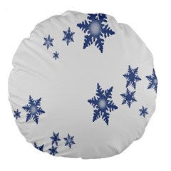 Star Snow Blue Rain Cool Large 18  Premium Round Cushions by AnjaniArt