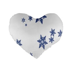 Star Snow Blue Rain Cool Standard 16  Premium Heart Shape Cushions by AnjaniArt