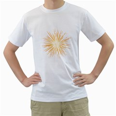 Fireworks Light Yellow Space Happy New Year Men s T Shirt (white) (two Sided) by AnjaniArt