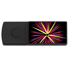 Fireworks Pink Red Yellow Black Sky Happy New Year Rectangular Usb Flash Drive by AnjaniArt