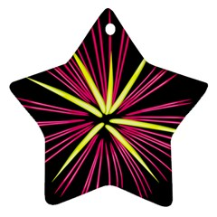 Fireworks Pink Red Yellow Black Sky Happy New Year Star Ornament (two Sides) by AnjaniArt