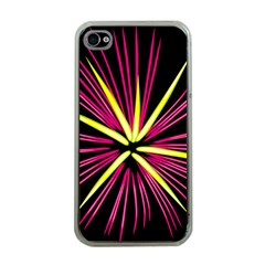 Fireworks Pink Red Yellow Black Sky Happy New Year Apple Iphone 4 Case (clear) by AnjaniArt