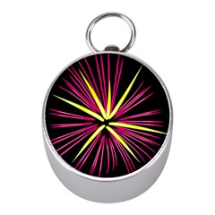 Fireworks Pink Red Yellow Black Sky Happy New Year Mini Silver Compasses by AnjaniArt