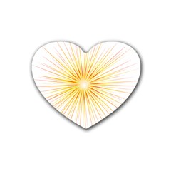 Fireworks Light Yellow Space Happy New Year Red Heart Coaster (4 Pack)  by AnjaniArt