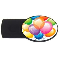 Birthday Happy New Year Balloons Rainbow Usb Flash Drive Oval (4 Gb) by AnjaniArt