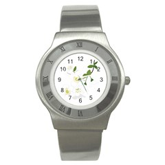 Flower Floral Sakura Stainless Steel Watch by AnjaniArt