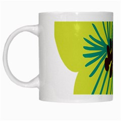 Flower Floral Green White Mugs by AnjaniArt