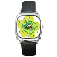 Flower Floral Green Square Metal Watch by AnjaniArt