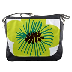 Flower Floral Green Messenger Bags by AnjaniArt