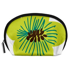 Flower Floral Green Accessory Pouches (large)  by AnjaniArt