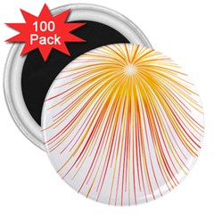Fireworks Yellow Light 3  Magnets (100 Pack) by AnjaniArt