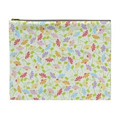 Flower Rainbow Sexy Leaf Plaid Vertical Horizon Cosmetic Bag (xl) by AnjaniArt