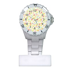 Flower Rainbow Sexy Leaf Plaid Vertical Horizon Plastic Nurses Watch by AnjaniArt