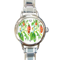 Fruit Flower Leaf Red White Green Starflower Round Italian Charm Watch by AnjaniArt