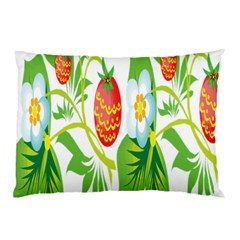 Fruit Flower Leaf Red White Green Starflower Pillow Case by AnjaniArt