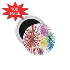 Happy New Year City Semmes Fireworks Rainbow Red Blue Yellow Purple Sky 1 75  Magnets (100 Pack)  by AnjaniArt