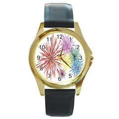 Happy New Year City Semmes Fireworks Rainbow Red Blue Yellow Purple Sky Round Gold Metal Watch by AnjaniArt