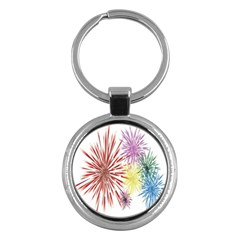 Happy New Year City Semmes Fireworks Rainbow Red Blue Yellow Purple Sky Key Chains (round)  by AnjaniArt