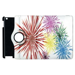 Happy New Year City Semmes Fireworks Rainbow Red Blue Yellow Purple Sky Apple Ipad 3/4 Flip 360 Case by AnjaniArt
