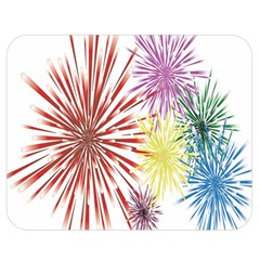 Happy New Year City Semmes Fireworks Rainbow Red Blue Yellow Purple Sky Double Sided Flano Blanket (medium)  by AnjaniArt