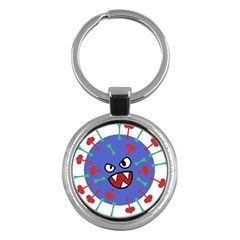 Monster Virus Blue Cart Big Eye Red Green Key Chains (round)  by AnjaniArt