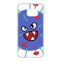 Monster Virus Blue Cart Big Eye Red Green Samsung Galaxy S7 Edge White Seamless Case by AnjaniArt