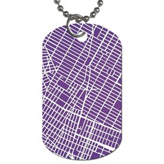 New York Map Art City Street Purple Line Dog Tag (two Sides) by AnjaniArt