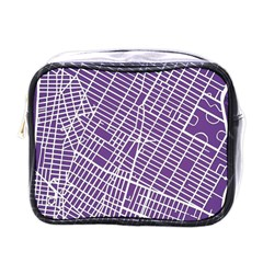 New York Map Art City Street Purple Line Mini Toiletries Bags by AnjaniArt