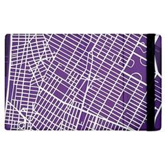 New York Map Art City Street Purple Line Apple Ipad 3/4 Flip Case by AnjaniArt