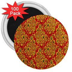 Flower Rose Red Yellow Sexy 3  Magnets (100 Pack) by AnjaniArt