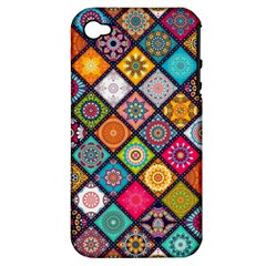 Flower Star Sign Rainbow Sexy Plaid Chevron Wave Apple Iphone 4/4s Hardshell Case (pc+silicone) by AnjaniArt