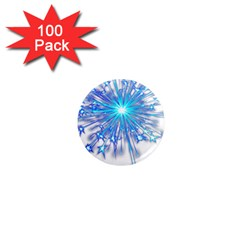 Fireworks Sky Blue Silver Light Star Sexy 1  Mini Magnets (100 Pack)  by AnjaniArt