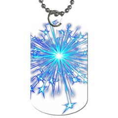Fireworks Sky Blue Silver Light Star Sexy Dog Tag (two Sides) by AnjaniArt