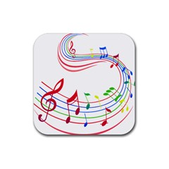 Rainbow Red Green Yellow Music Tones Notes Rhythms Rubber Square Coaster (4 Pack)  by AnjaniArt