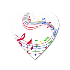 Rainbow Red Green Yellow Music Tones Notes Rhythms Heart Magnet by AnjaniArt