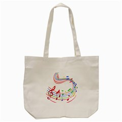 Rainbow Red Green Yellow Music Tones Notes Rhythms Tote Bag (cream) by AnjaniArt