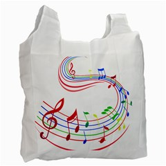 Rainbow Red Green Yellow Music Tones Notes Rhythms Recycle Bag (one Side) by AnjaniArt