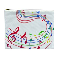 Rainbow Red Green Yellow Music Tones Notes Rhythms Cosmetic Bag (xl) by AnjaniArt
