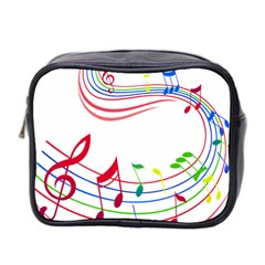 Rainbow Red Green Yellow Music Tones Notes Rhythms Mini Toiletries Bag 2 Side by AnjaniArt