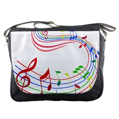 Rainbow Red Green Yellow Music Tones Notes Rhythms Messenger Bags by AnjaniArt