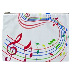 Rainbow Red Green Yellow Music Tones Notes Rhythms Cosmetic Bag (xxl)  by AnjaniArt