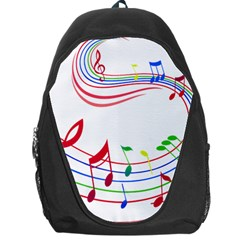 Rainbow Red Green Yellow Music Tones Notes Rhythms Backpack Bag by AnjaniArt