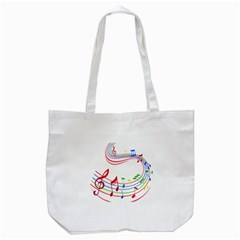 Rainbow Red Green Yellow Music Tones Notes Rhythms Tote Bag (white) by AnjaniArt